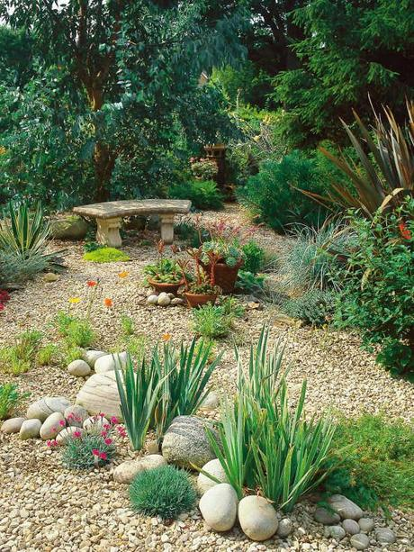 Ideas on landscaping with gravel rocks as a ground cover for Garden designs using pebbles