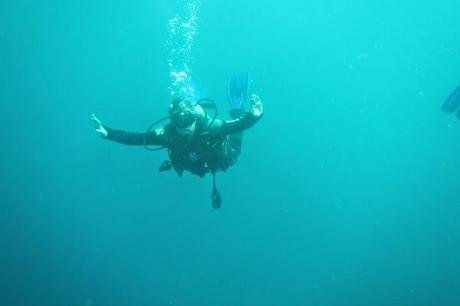 Goofing off while diving in the Galapagos