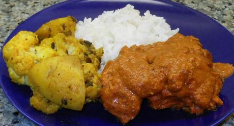 Chicken Tikka Masala, Gobi Aloo, and Rice.