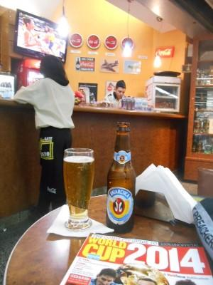 Beer and football in Bar Gate Zero in Rio de Janeiro Airport, Brazil.