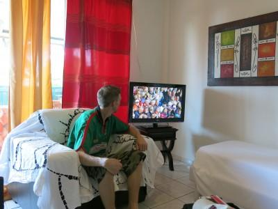 Watching the World Cup in our room at Oyasamaid, Cayenne, French Guyana.