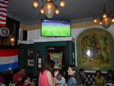 In Verve Bar in Lessy's Q/Picadilly watching Costa Rica beat Uruguay 3-1.