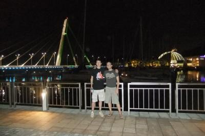 Hanging out with my cousin in Singapore.