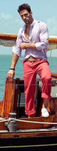 man on boat mens fashion