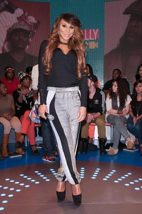 tamar-braxton-106-and-park-31-phillip-lim-sequin-sweatpants-christian-louboutin-daffodile-suede-pumps