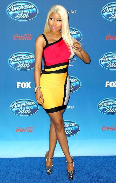 Hot-or-Hmm-Nicki-Minajs-American-Idol-Screening-Herve-Leger-Colorblock-Cutout-Bandage-Dress