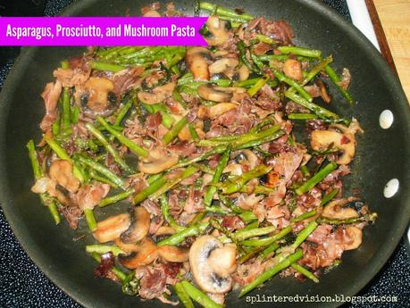 Asparagus, Prosciutto, and Mushroom Pasta with Pink Sauce