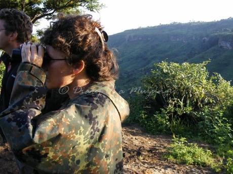 Birdwatching Uganda. A birding muzungu at Sipi Falls, eastern Uganda