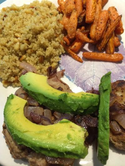turkey burger quinoa carrots dinner