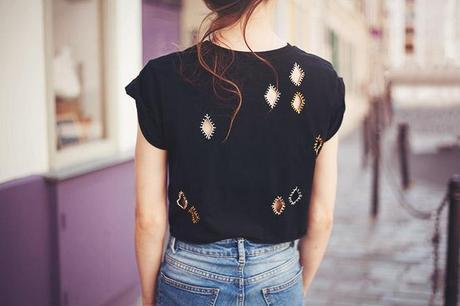 DIY embroidered cutout t shirt