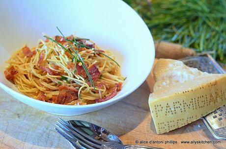 ~spaghetti carbonara with chives~