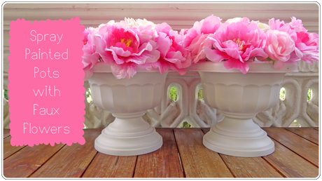 Spray Painted Pots with Faux Flowers