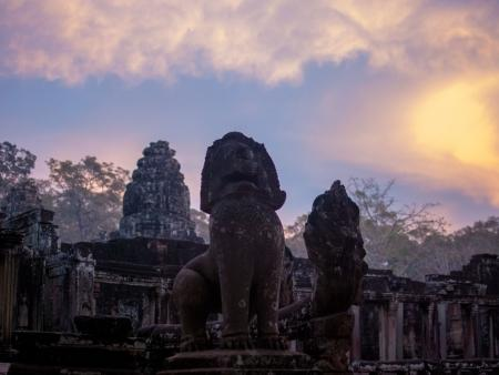 Mythical lions at Bayon during sunset