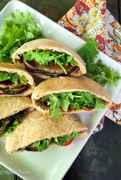 Roasted Eggplant Parmesan Pita Pocket Sandwiches with Portobello Mushrooms