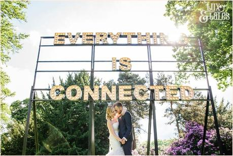 Everything Is Connected Sign Yorkshire Sculpture Park wedding photography