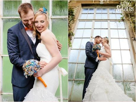 Bride and groom in Orangery at Yorkshire Sculpture Park