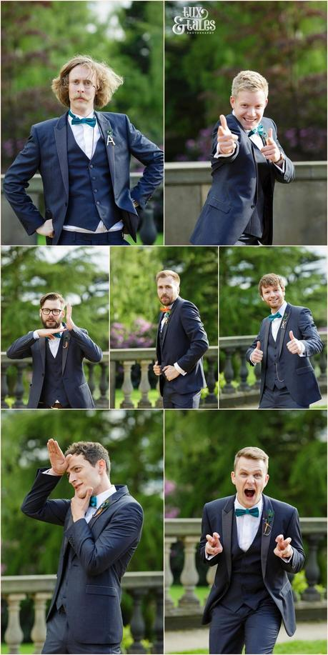 Silly faces from groomsmen at yorkshire sculpture park wedding