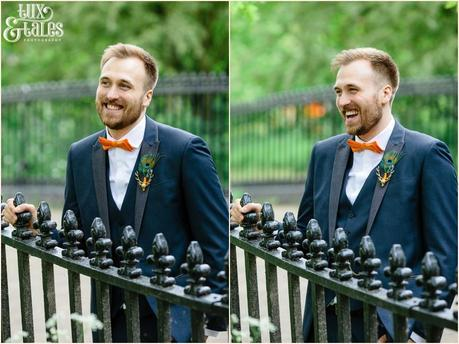 Groom laughing at Yorkshire Sculpture Park wedding