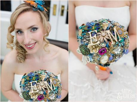 Bride with brooch bouquet at Yorkshire Sculpture Park Wedding