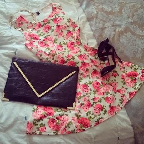 The H&M rose print skater dress   OOTN