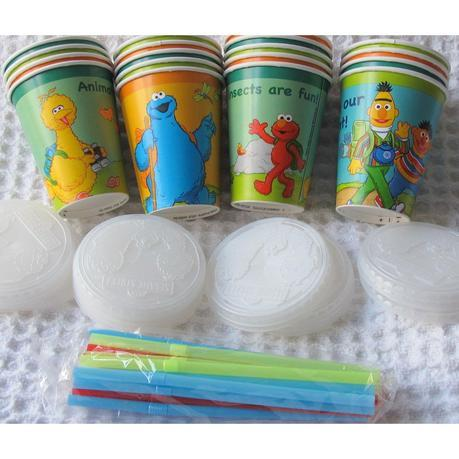 Image: Solo 9-Ounce Sesame Street Combo Pack (Cups, Lids, and Straws) - 18 Count - Decorated with six different Sesame Street characters