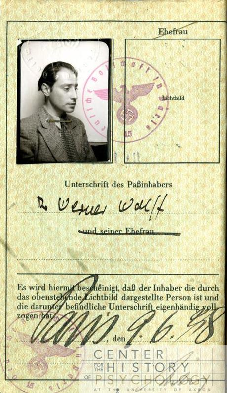 Wolff's German passport. Wolff left Germany in 1933.  Box M4844, Folder 2.