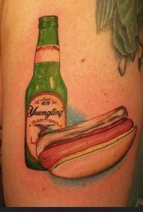 beer hotdog tatoo 202x300 Top 10 Best Food Tattoos