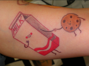 milk cookiestattoo 300x222 Top 10 Best Food Tattoos