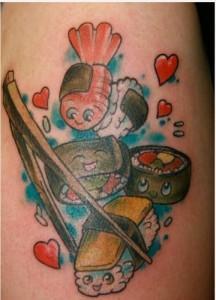 sushi tattoo 216x300 Top 10 Best Food Tattoos