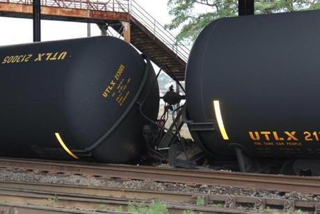 Derailed oil tanker cars beneath Seattle's Magnolia Bridge on Thursday, July 24, 2014. courtesy Dana Robinson Slote Seattle City Council