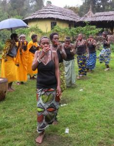 Batwa dancers at Mount Gahinga Lodge, Mgahinga, Uganda