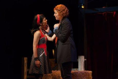 Rachele Gilmore as Zerbinetta and Catherine Martin as Composer in The Glimmerglass Festival's 2014 production of Strauss'