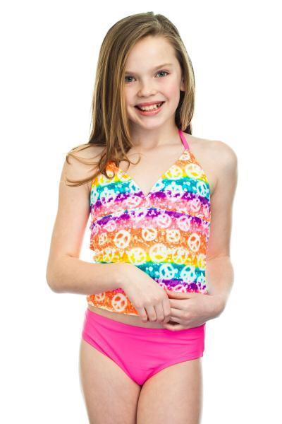 EVEN THE YOUNG GIRLS CAN GET IN ON THE SUMMER SWIMWEAR FUN THANKS TO SWIMSUITS LIKE THIS BREAKING WAVES PEACE SIGN GIRL'S TANKINI