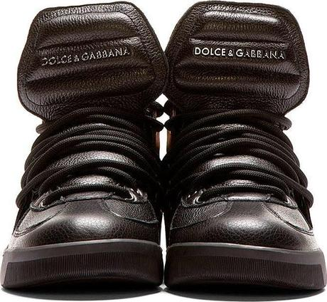 Pelle Bello High:  Dolce & Gabbana Black Leather High Top Sneaker