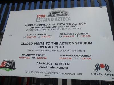 Opening times of the tours.