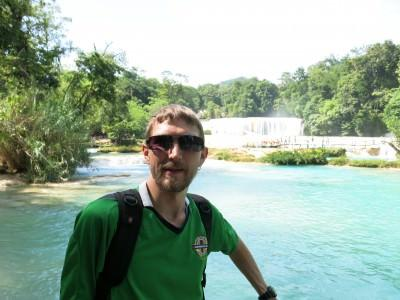 Visiting Agua Azul waterfalls in Mexico.