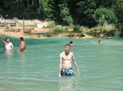 Swimming in the waters in front of Agua Azul waterfalls in Mexico.