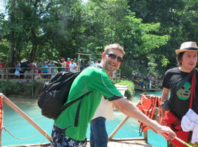 On the rafts at Agua Azul.