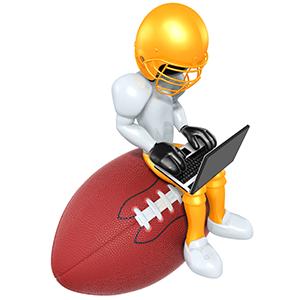 Fantasy football guy typing