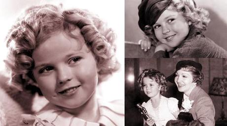 movie child star Shirley Temple studio portrait publicity photo for Captain January with her honorary Oscar and actress Claudette Colbert