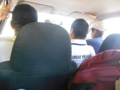 Our shared taxi had 7 people in it.