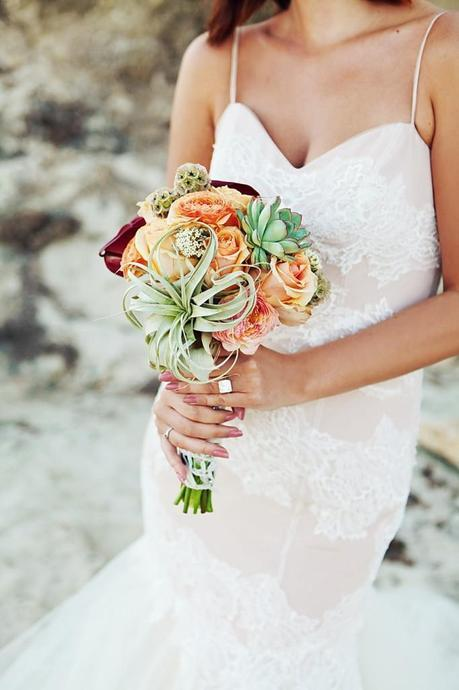 Corals, Green Succulent Wedding Bouquet