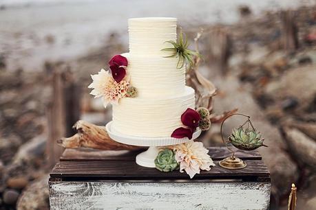 White Wedding Cake_Laguna Beach Wedding Photo Shoot
