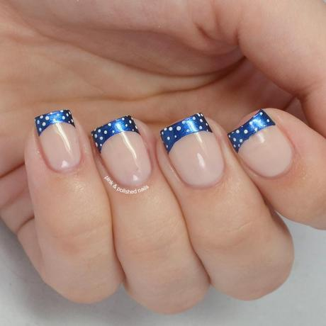 Navy French Tips With White Baby Dots Paperblog