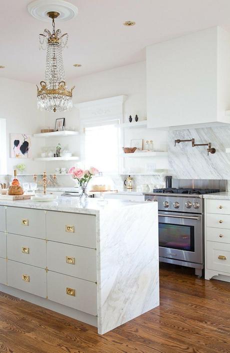 Bijou & Boheme Home Tour: White marble kitchen with brass accents
