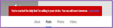 Image: limit exceed error while adding more people in google plus page