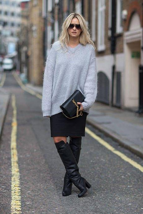 gray-fuzzy-sweater-high-boots-bazaar
