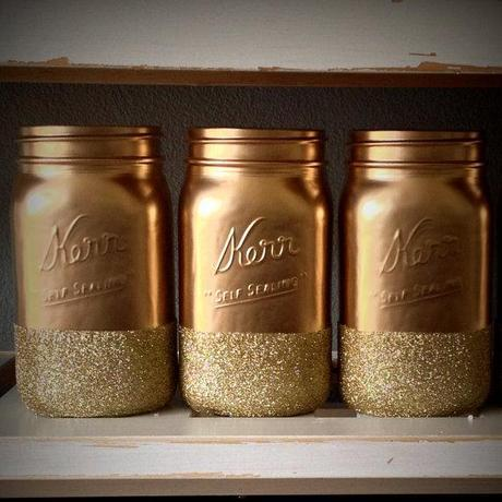 Hand Dipped Gold Glitter Jars