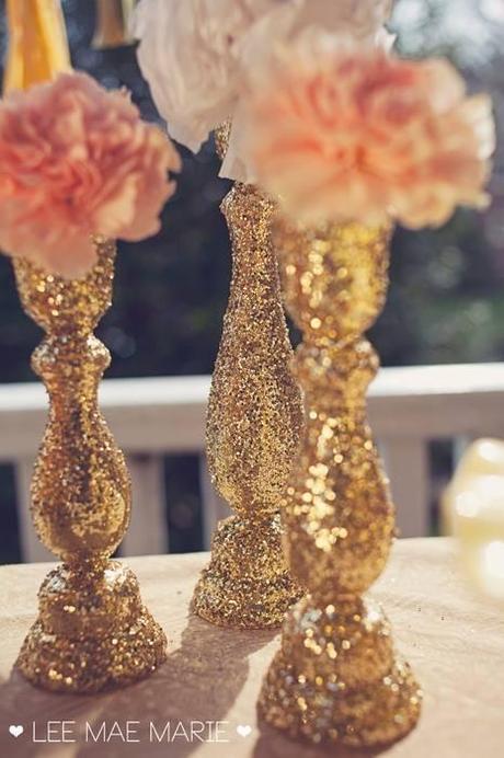 DIY Glitter Candlesticks