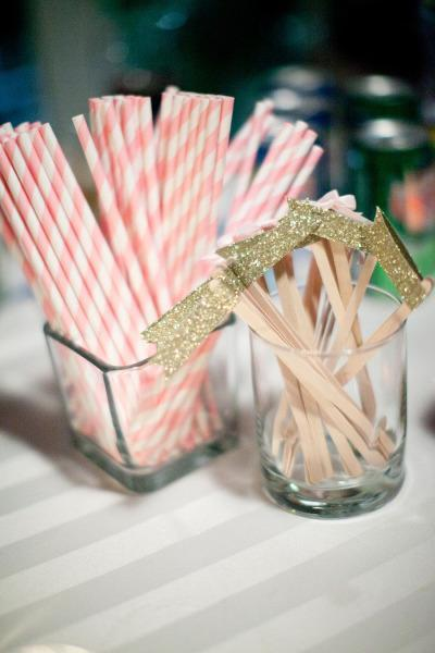DIY Gold Glitter Drink stirrers